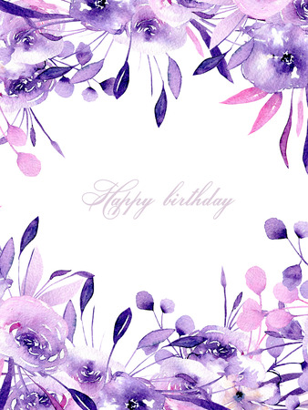 Floral design card with watercolor purple roses and herbs, hand drawn on a white background, for wedding, birthday and other greeting cards Archivio Fotografico