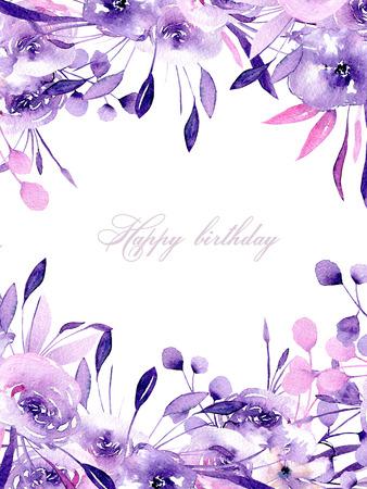 Květinová karta s akvarelem purpurové růže a bylinkami, ručně kreslená na bílém pozadí, pro svatby, narozeniny a jiné pohlednice