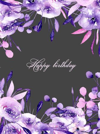 Květinová karta s akvarelovými fialovými růže a bylinkami, ručně kreslená na pozadí, pro svatby, narozeniny a jiné pohlednice