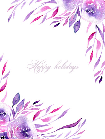 Floral design card with watercolor purple and pink roses and branches, hand drawn on a white background, for wedding, birthday and other greeting cards