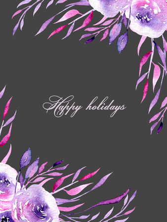 Floral design card with watercolor purple and pink roses and branches, hand drawn on a dark background