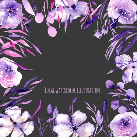 Floral design card with watercolor purple roses, rhododendron flowers and branches, hand drawn on a dark background,