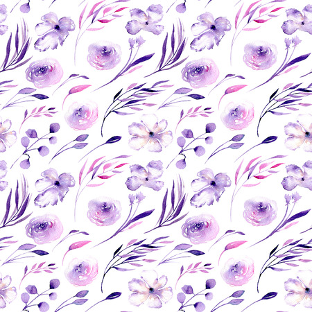 Watercolor purple roses, rhododendron flowers and branches seamless pattern, hand drawn on a white background, floral print