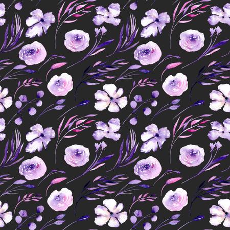 Akvarel fialové růže, rhododendronové květiny a větve bezešvé vzory, ručně kreslené na tmavém pozadí, květinový tisk