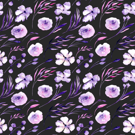 Watercolor purple roses, rhododendron flowers and branches seamless pattern, hand drawn on a dark background, floral print
