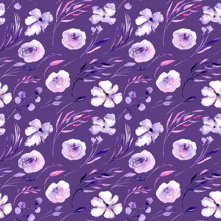 Akvarel fialové růže, rhododendronové květiny a větve bezešvé vzorek, ručně kreslené na tmavě purpurovém pozadí, květinový tisk