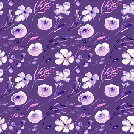 Watercolor purple roses, rhododendron flowers and branches seamless pattern, hand drawn on a dark purple background, floral print