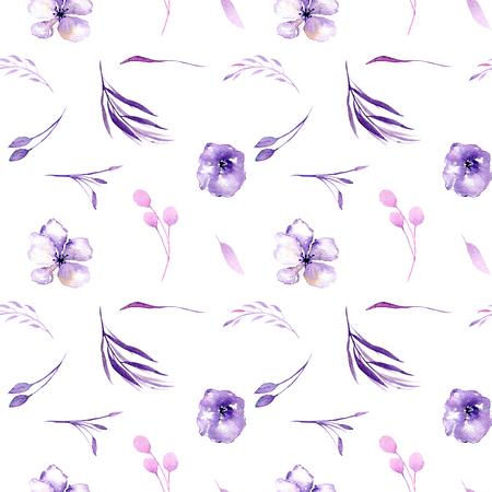 Aquarel paarse rododendron bloemen en takken naadloze patroon, hand getrokken op een witte achtergrond, floral print