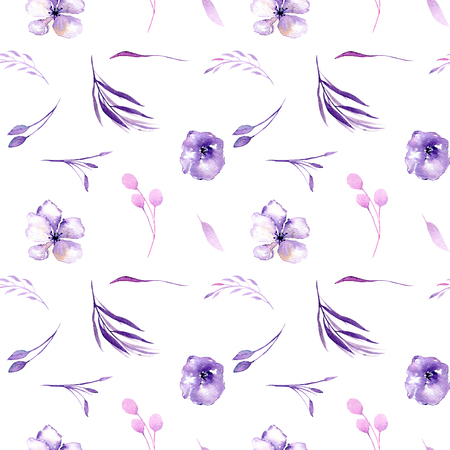 Watercolor purple rhododendron flowers and branches seamless pattern, hand drawn on a white background, floral print