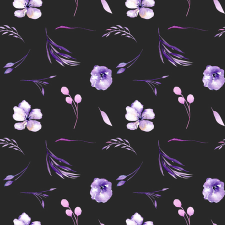Watercolor purple rhododendron flowers and branches seamless pattern, hand drawn on a dark background