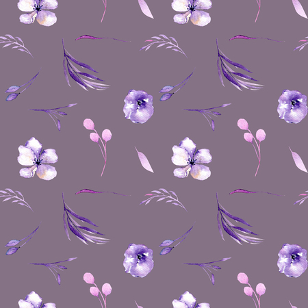 Watercolor purple rhododendron flowers and branches seamless pattern, hand drawn on a purple background, floral print