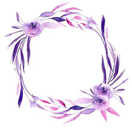 Akvarel fialové růže a větve větve, ručně kreslené izolovaných na bílém pozadí, na svatbu, narozeniny a jiné pohlednice