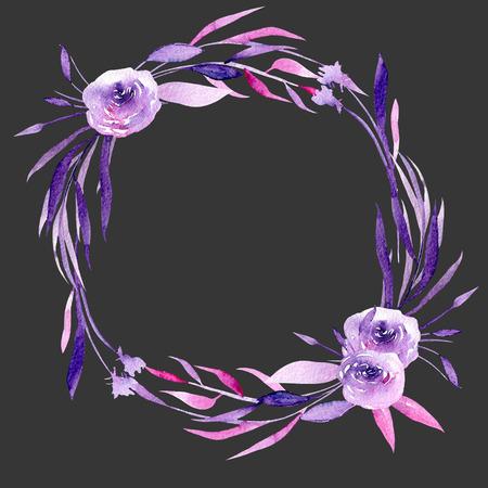 Akvarel fialové růže a větve větve, ručně kreslené izolované na tmavém pozadí, na svatbu, narozeniny a jiné pohlednice