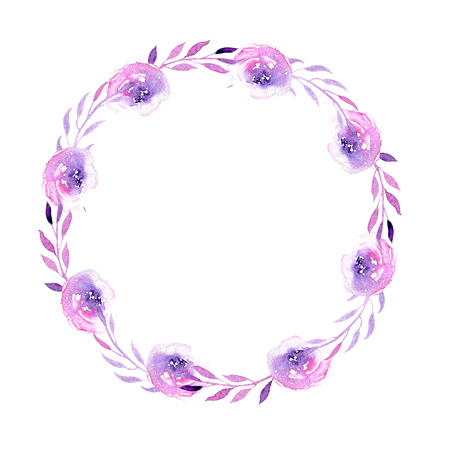 Watercolor purple roses wreath, hand drawn isolated on a white background