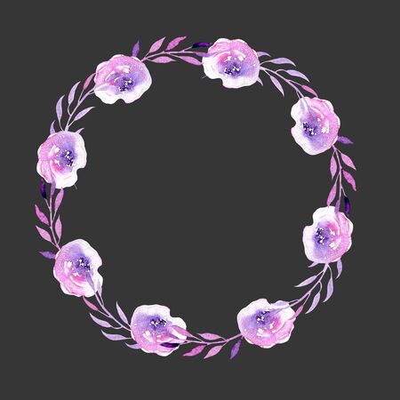 Watercolor purple roses wreath, hand drawn isolated on a dark background, for wedding, birthday and other greeting cards