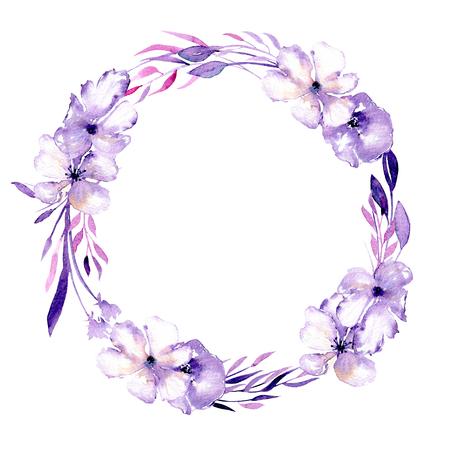 Akvarel fialový rhododendron květinový věnec, ručně kreslených izolovaných na bílém pozadí, na svatbu, narozeniny a jiné pohlednice