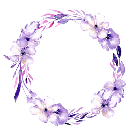 Watercolor purple rhododendron flowers wreath, hand drawn isolated on a white background, for wedding, birthday and other greeting cards