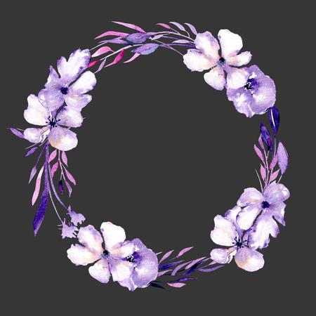 Aquarel paarse rododendron bloemen en takken krans, hand getrokken geïsoleerd op een donkere achtergrond, voor bruiloft, verjaardag en andere wenskaarten Stockfoto