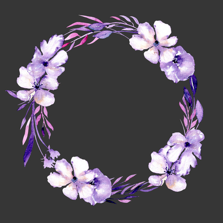 Watercolor purple rhododendron flowers and branches wreath, hand drawn isolated on a dark background, for wedding, birthday and other greeting cards
