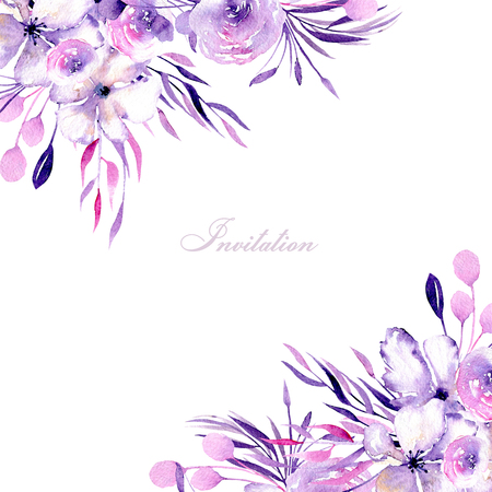 Bloemenontwerpkaart met waterverf purpere die rozen en rododendronbloemen, hand op een witte achtergrond, voor huwelijk, verjaardag en andere groetkaarten wordt getrokken
