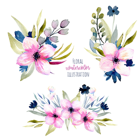 Watercolor pink and blue wildflowers and field grasses bouquets set, hand drawn isolated on a white background, Mothers day, birthday and other greeting cards