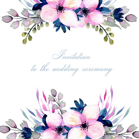 Greeting floral card template with watercolor pink and blue wildflowers and field grasses, hand drawn on a white background, Mothers day, birthday, wedding and other greeting cards