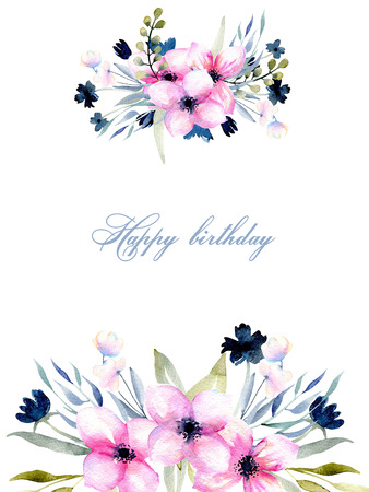 Greeting card template with watercolor pink and blue wildflowers and field grasses, hand drawn on a white background, Mothers day, birthday, wedding and other greeting cards