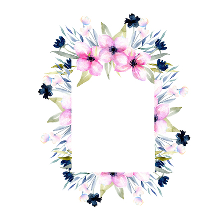 Watercolor pink and blue wildflowers and field grasses frame, hand drawn isolated on a white background, Mothers day, birthday and other greeting cards