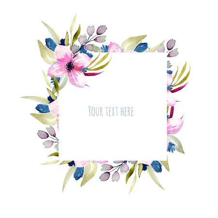 Watercolor pink and blue wildflowers and green branches, hand drawn isolated on a white background, Mothers day, birthday and other greeting cards