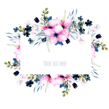 Watercolor pink and blue wildflowers and branches frame, hand drawn isolated on a white background, Mothers day, birthday and other greeting cards