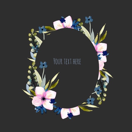 Watercolor wildflowers and branches oval frame in pink and blue shades, hand drawn isolated on a dark background, Mothers day, birthday and other greeting cards