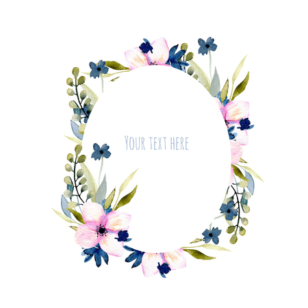 Watercolor wildflowers and branches oval frame in pink and blue shades, hand drawn isolated on a white background, Mothers day, birthday and other greeting cards