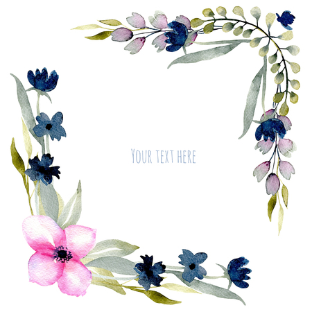 Watercolor pink and blue wildflowers and green branches corner borders, hand drawn isolated on a white background, Mothers day, birthday and other greeting cards