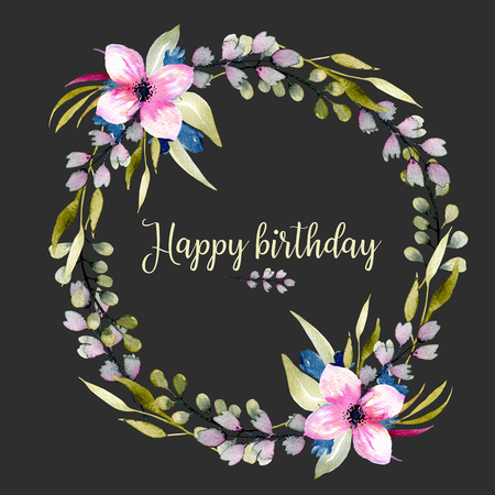 Watercolor wildflowers and green branches wreath, hand drawn isolated on a dark background, birthday and other greeting cards