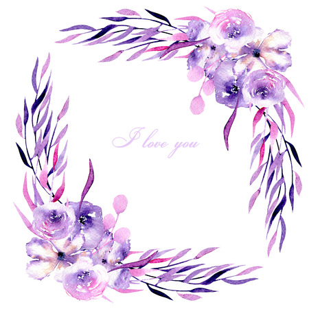 Corner border with watercolor purple roses, rhododendron flowers and branches, hand drawn on a white background, for wedding, birthday and other greeting cards