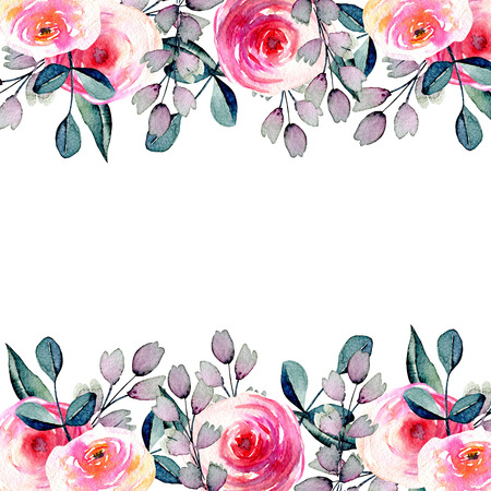 Watercolor pretty roses, blue and purple branches card template, hand drawn on a white background, birthday and other greeting cards