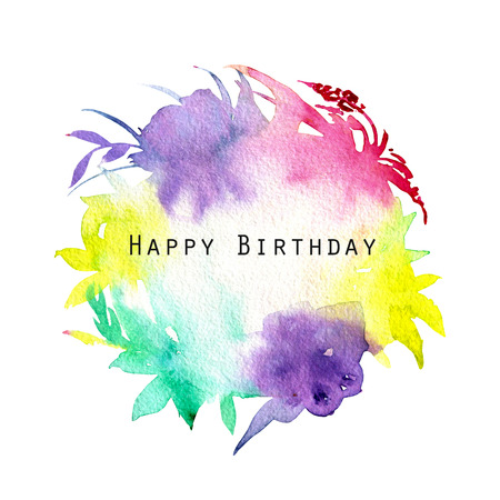 Watercolor multicolor and bright background, floral shapes paper texture, isolated on a white background, birthday card design