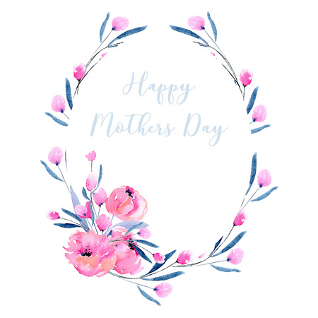 Watercolor pink poppies and floral branches oval frame border, hand drawn on a white background, for Mothers Day and other greeting cards Zdjęcie Seryjne