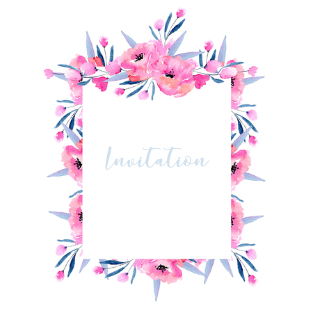 Watercolor pink poppies and floral branches frame border, hand drawn on a white background, invitation and other greeting cards