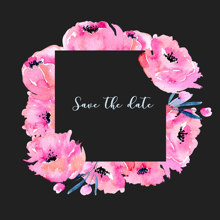 Watercolor pink poppies frame, hand drawn on a dark background, invitation, save the date card and other greeting cards