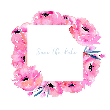 Watercolor pink poppies frame, hand drawn on a white background, invitation, save the date card and other greeting cards