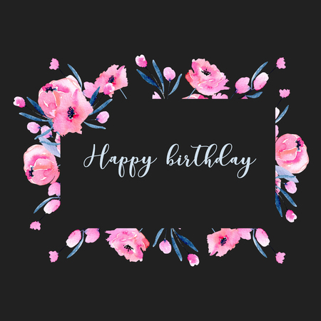 Watercolor pink poppies and floral branches frame border, hand drawn on a dark background, birthday and other greeting cards Zdjęcie Seryjne