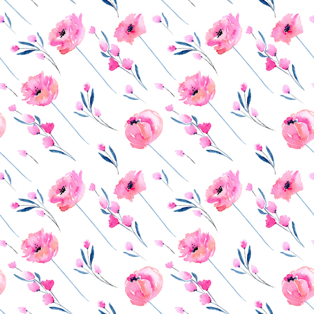 Watercolor pink poppies and floral branches seamless pattern, hand drawn on a white background Zdjęcie Seryjne