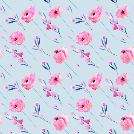 Watercolor pink poppies and floral branches seamless pattern, hand drawn on a blue background