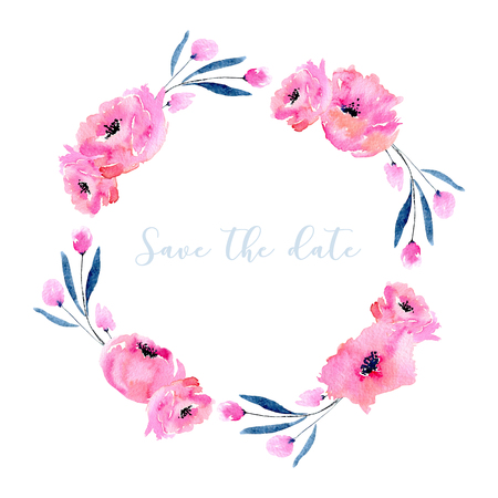 Watercolor pink poppies and blue branches wreath, hand drawn isolated on a white background, wedding card design