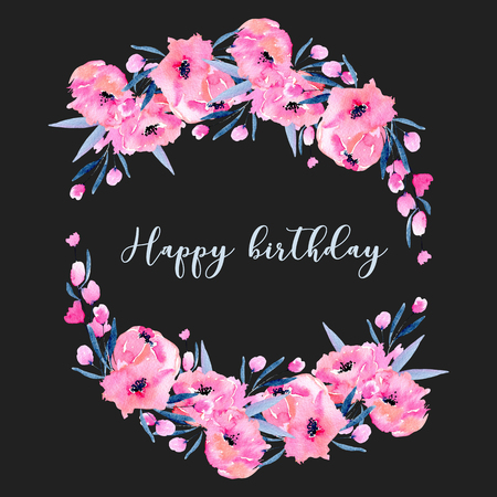 Watercolor pink poppies and small wildflowers wreath, hand drawn isolated on a dark background, birthday design card
