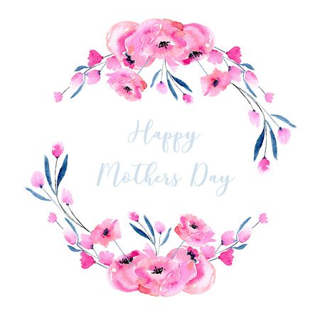 Watercolor pink poppies and small wildflowers wreath, hand drawn isolated on a white background, Mothers day design