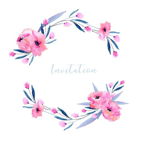Watercolor pink poppies and small wildflowers wreath, hand drawn isolated on a white background, Mothers day, birthday, wedding and other greeting cards