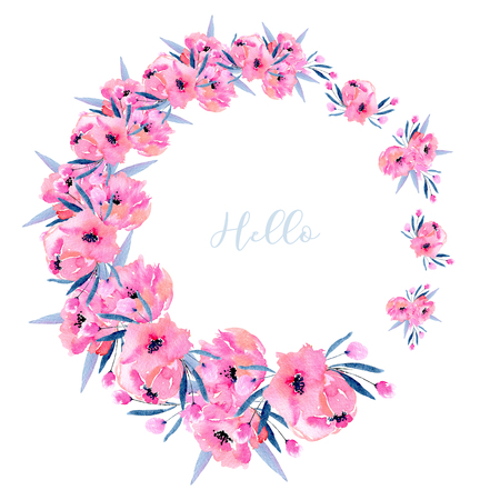Watercolor pink poppies wreath, hand drawn isolated on a white background, Mothers day, birthday, wedding and other greeting cards