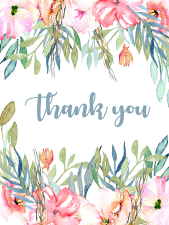 Watercolor pink field carnations, blue and green branches card template, hand drawn on a white background, Thank you card design Stok Fotoğraf